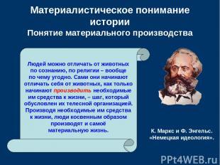 Материалистическое понимание истории Понятие материального производства Людей мо