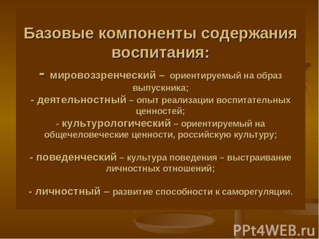 Базовые компоненты содержания воспитания: - мировоззренческий – ориентируемый на образ выпускника; - деятельностный – опыт реализации воспитательных ценностей; - культурологический – ориентируемый на общечеловеческие ценности, российскую культуру; -…