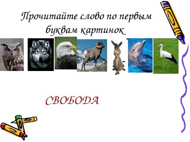 Прочитайте слово по первым буквам картинок СВОБОДА