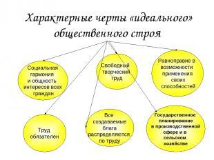 Характерные черты «идеального» общественного строя Социальная гармония и общност