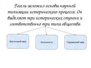 Гегель заложил основы научной типизации исторического процесса. Он выделяет три