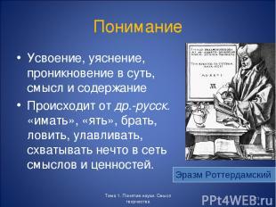Понимание Усвоение, уяснение, проникновение в суть, смысл и содержание Происходи
