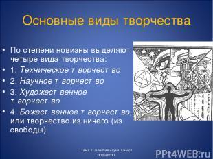 Тема 1. Понятие науки. Смысл творчества * Основные виды творчества По степени но