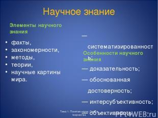 Научное знание Элементы научного знания факты, закономерности, методы, теории, н