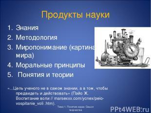 Продукты науки Знания Методология Миропонимание (картина мира) Моральные принцип
