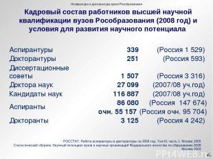 РОССТАТ. Работа аспирантуры и докторантуры за 2008 год. Том III, часть 1. Москва