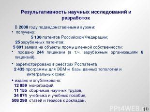 * В 2008 году подведомственными вузами: получено: 5 138 патентов Российской Феде