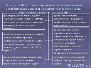 Блок № 1 «Подготовка современных научных и научно-педагогических кадров и их зак