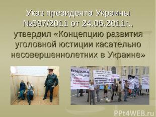 Указ президента Украины №597/2011 от 24.05.2011г., утвердил «Концепцию развития