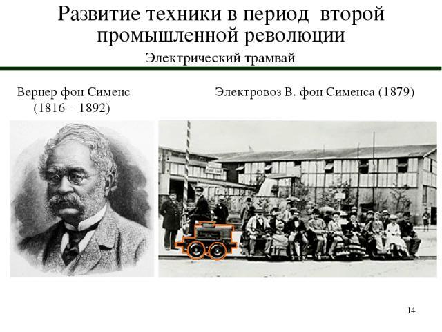 * Развитие техники в период второй промышленной революции Электрический трамвай Вернер фон Сименс (1816 – 1892) Электровоз В. фон Сименса (1879)