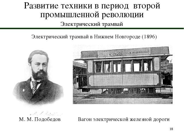 * Развитие техники в период второй промышленной революции Электрический трамвай Электрический трамвай в Нижнем Новгороде (1896) М. М. Подобедов Вагон электрической железной дороги