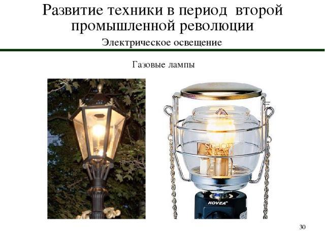 * Развитие техники в период второй промышленной революции Электрическое освещение Газовые лампы
