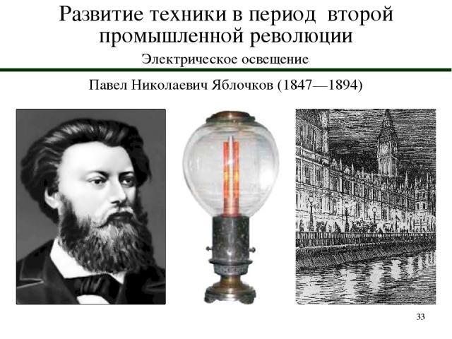 * Развитие техники в период второй промышленной революции Электрическое освещение Павел Николаевич Яблочков (1847—1894)