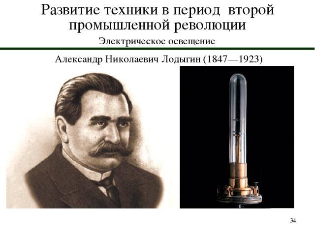 * Развитие техники в период второй промышленной революции Электрическое освещение Александр Николаевич Лодыгин (1847—1923)
