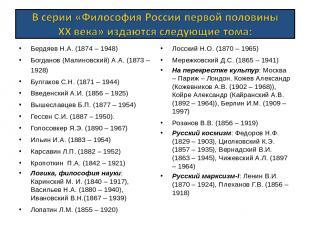 Бердяев Н.А. (1874 – 1948) Богданов (Малиновский) А.А. (1873 – 1928) Булгаков С.