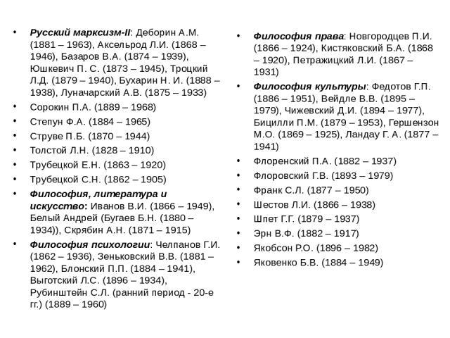 Русский марксизм-II: Деборин А.М. (1881 – 1963), Аксельрод Л.И. (1868 – 1946), Базаров В.А. (1874 – 1939), Юшкевич П. С. (1873 – 1945), Троцкий Л.Д. (1879 – 1940), Бухарин Н. И. (1888 – 1938), Луначарский А.В. (1875 – 1933) Сорокин П.А. (1889 – 1968…
