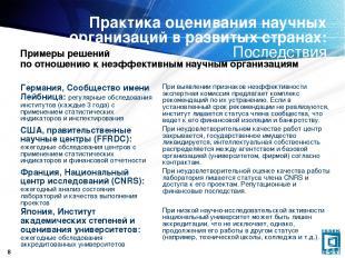 * Практика оценивания научных организаций в развитых странах: Последствия Пример