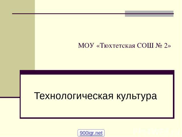 МОУ «Тюхтетская СОШ № 2» Технологическая культура 900igr.net
