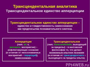 Трансцендентальная аналитика Трансцендентальное единство апперцепции Апперцепция