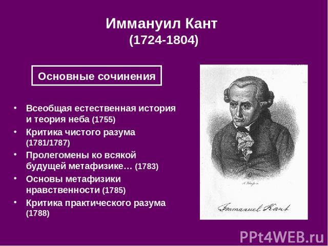 Иммануил Кант (1724-1804) Всеобщая естественная история и теория неба (1755) Критика чистого разума (1781/1787) Пролегомены ко всякой будущей метафизике… (1783) Основы метафизики нравственности (1785) Критика практического разума (1788) Основные сочинения