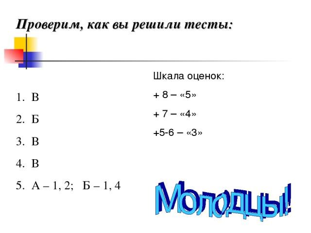 Проверим, как вы решили тесты: В Б В В А – 1, 2; Б – 1, 4 Шкала оценок: + 8 – «5» + 7 – «4» +5-6 – «3»