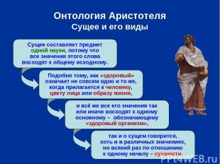 Онтология Аристотеля Сущее и его виды Сущее составляет предмет одной науки, пото