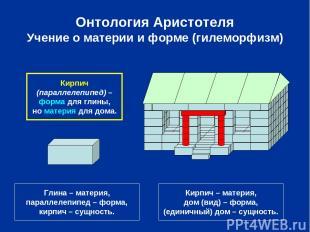 Онтология Аристотеля Учение о материи и форме (гилеморфизм) Глина – материя, пар