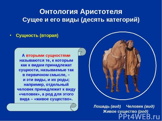 Онтология Аристотеля Сущее и его виды (десять категорий) Сущность (вторая) Живое существо (род) А вторыми сущностями называются те, к которым как к видам принадлежат сущности, называемые так в первичном смысле, – и эти виды, и их роды; например, отд…