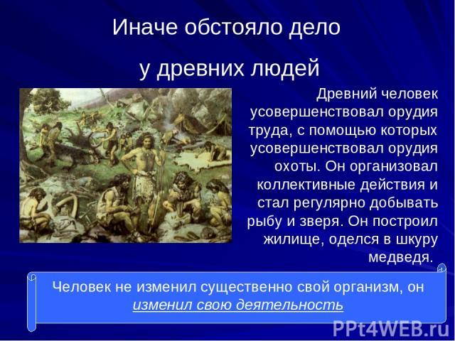Иначе обстояло дело у древних людей Древний человек усовершенствовал орудия труда, с помощью которых усовершенствовал орудия охоты. Он организовал коллективные действия и стал регулярно добывать рыбу и зверя. Он построил жилище, оделся в шкуру медве…