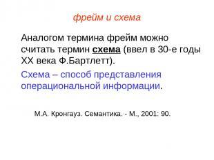 фрейм и схема Аналогом термина фрейм можно считать термин схема (ввел в 30-е год