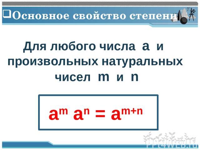 Основное свойство степени Для любого числа a и произвольных натуральных чисел m и n am an = am+n