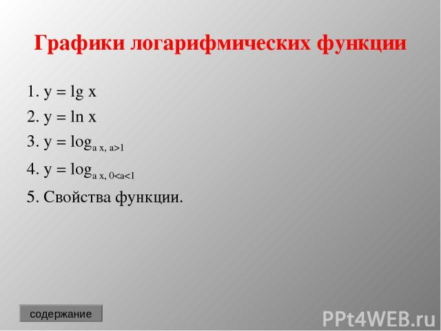 Графики логарифмических функции 1. y = lg x 2. y = ln x 3. y = loga x, a>1 4. y = loga x, 0