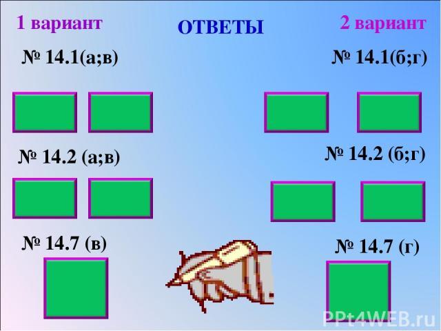 ОТВЕТЫ № 14.1(а;в) № 14.2 (а;в) № 14.7 (в) 1 вариант 2 вариант № 14.1(б;г) № 14.2 (б;г) № 14.7 (г) 6 63 20 48 0,03 0,22 0,42 0,81