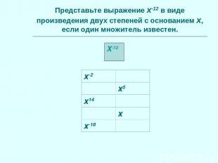 X-12 Представьте выражение x-12 в виде произведения двух степеней с основанием x