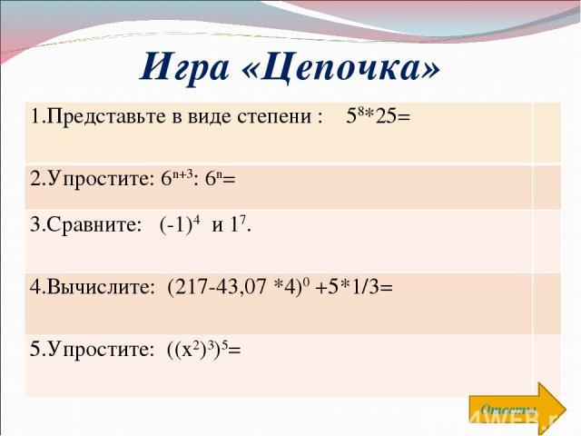 Игра «Цепочка» Ответы 1.Представьте в виде степени : 58*25= 2.Упростите: 6n+3: 6n= 3.Сравните: (-1)4 и 17. 4.Вычислите: (217-43,07 *4)0 +5*1/3= 5.Упростите: ((х2)3)5=