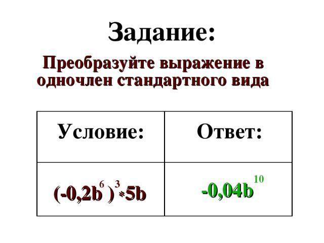 Задание: Преобразуйте выражение в одночлен стандартного вида Условие: Ответ: (-0,2b ) *5b -0,04b 6 3 10