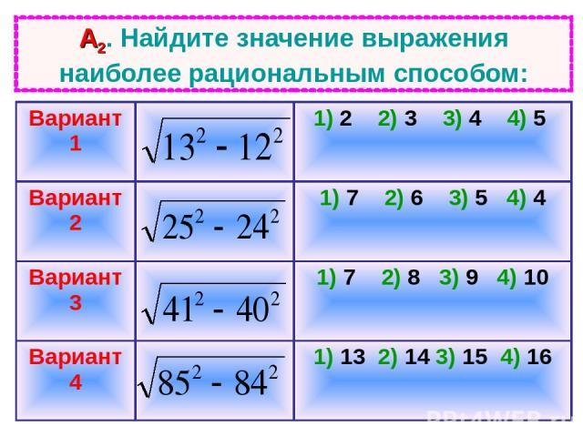 А2. Найдите значение выражения наиболее рациональным способом: Вариант 1 1) 2 2) 3 3) 4 4) 5 Вариант 2 1) 7 2) 6 3) 5 4) 4 Вариант 3 1) 7 2) 8 3) 9 4) 10 Вариант 4 1) 13 2) 14 3) 15 4) 16