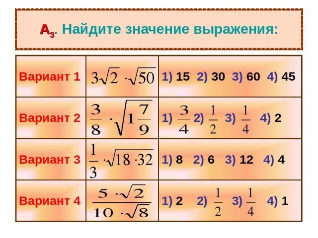 А3. Найдите значение выражения: Вариант 1 1) 15 2) 30 3) 60 4) 45 Вариант 2 1) 2) 3) 4) 2 Вариант 3 1) 8 2) 6 3) 12 4) 4 Вариант 4 1) 2 2) 3) 4) 1