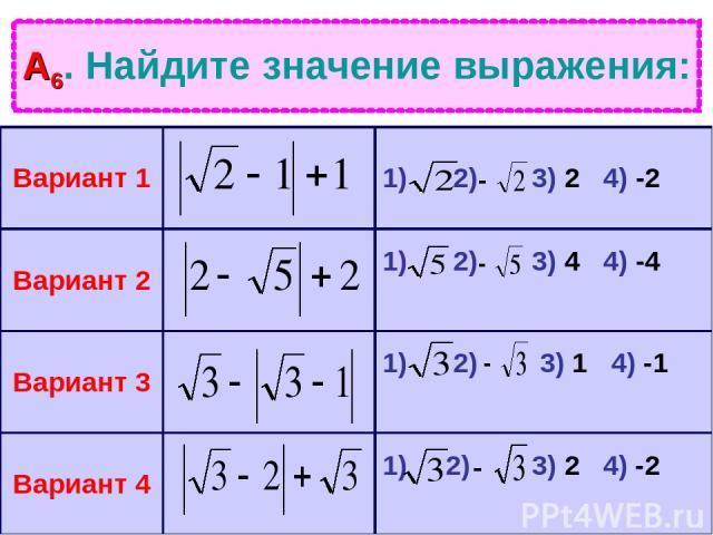 А6. Найдите значение выражения: Вариант 1 1) 2) 3) 2 4) -2 Вариант 2 1) 2) 3) 4 4) -4 Вариант 3 1) 2) 3) 1 4) -1 Вариант 4 1) 2) 3) 2 4) -2