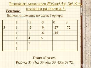 Разложить многочлен Р(х)=х4-5х3-3х2+9 по степеням разности х-3. Решение. Выполни