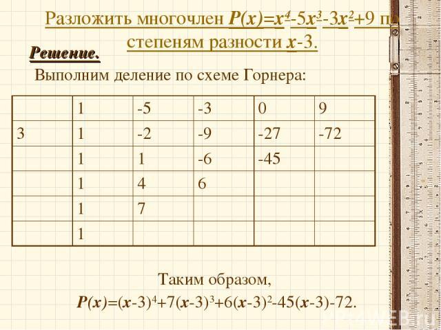 Разложить многочлен Р(х)=х4-5х3-3х2+9 по степеням разности х-3. Решение. Выполним деление по схеме Горнера: Таким образом, Р(х)=(х-3)4+7(х-3)3+6(х-3)2-45(х-3)-72. 1 -5 -3 0 9 3 1 -2 -9 -27 -72 1 1 -6 -45 1 4 6 1 7 1