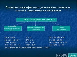 Провести классификацию данных многочленов по способу разложения на множители. 20