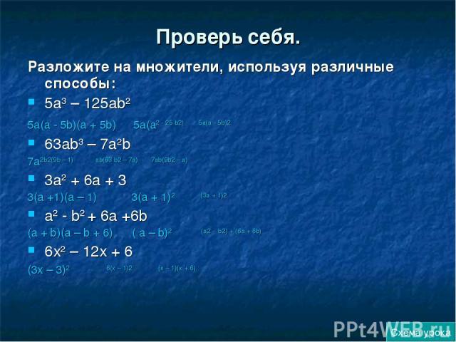 Проверь себя. Разложите на множители, используя различные способы: 5а3 – 125аb2 5а(а - 5b)(а + 5b) 5а(а2 - 25 b2) 5а(а - 5b)2 63аb3 – 7а2b 7а2b2(9b – 1) аb(63 b2 – 7а) 7аb(9b2 – а) 3а2 + 6а + 3 3(а +1)(а – 1) 3(а + 1)2 (3а + 1)2 а2 - b2 + 6а +6b (а …