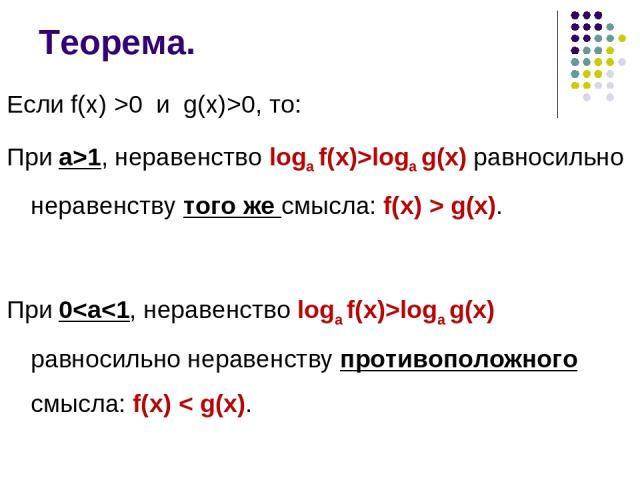 Теорема. Если f(x) >0 и g(x)>0, то: При а>1, неравенство logа f(x)>logа g(x) равносильно неравенству того же смысла: f(x) > g(x). При 0
