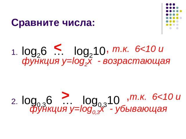 Сравните числа: log26 … log210 log0,36 … log0,310 < , т.к. 6 ,т.к. 6