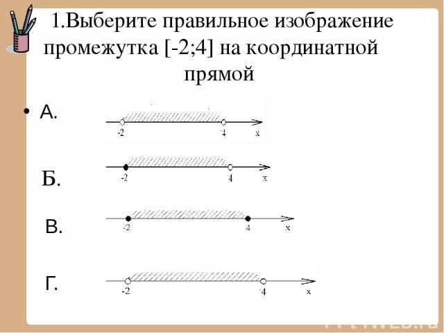 1.Выберите правильное изображение промежутка [-2;4] на координатной прямой А. В. Г. Б.