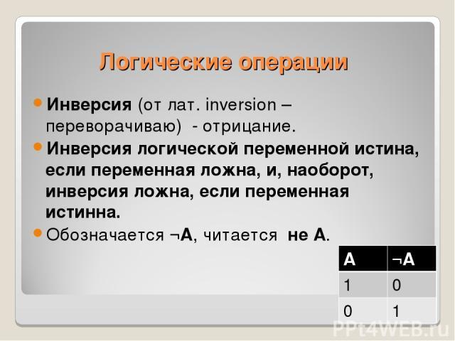 Инверсия (от лат. inversion – переворачиваю) - отрицание. Инверсия логической переменной истина, если переменная ложна, и, наоборот, инверсия ложна, если переменная истинна. Обозначается ¬А, читается не А. Логические операции А ¬А 1 0 0 1