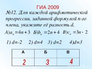 №12. Для каждой арифметической прогрессии, заданной формулой n-го члена, укажите