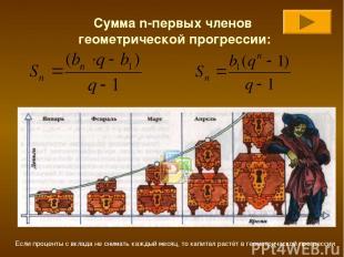 Сумма n-первых членов геометрической прогрессии: Если проценты с вклада не снима