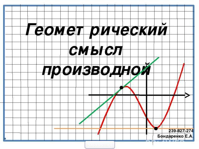 Геометрический смысл производной 239-827-274 Бондаренко Е.А. 5klass.net